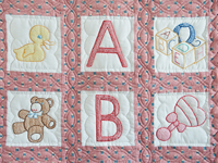 Pink Cross Stitch ABC Bears Crib Quilt