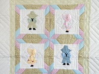 Puffy Hat Sunbonnet Sue & Bill Crib Quilt