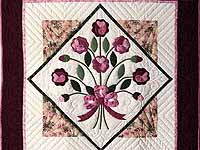 Raspberry and Green Victorian Rose Wall Hanging