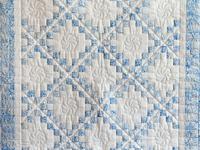 Pastel Blue and White Irish Chain Crib Quilt