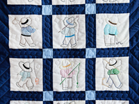 Navy and Blue Fishing Boys Crib Quilt