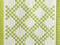 Spring Green and Cream Irish Chain Crib Quilt