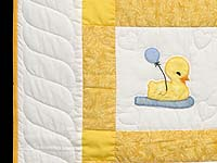 Yellow and Cream Lucky Ducks Crib Quilt