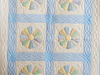 Pastel Blue Dresden Plate Crib Quilt