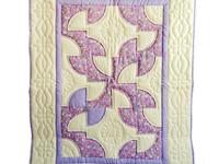 Indiana Amish Lavender and Cream Solomon's Puzzle Crib Quilt