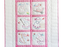 Pink and White Hand Embroidered Crib Quilt