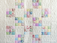 Pastel and Cream Butterfly Garden Nine Patch Crib Quilt