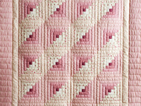 Precious Rose and Cream Log Cabin Crib Quilt