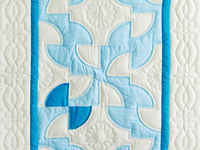 Indiana Amish Aqua/Teal Blue and White Solomon's Puzzle Crib Quilt