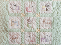 Embroidered Animals Crib Quilt