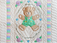 Embroidered Teddy Bear Crib Quilt