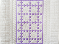 Lavender and White Nine Patch Crib Quilt