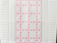Pretty Pink and White Nine Patch Crib Quilt