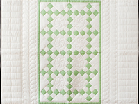 Spring Green and Cream Nine Patch Crib Quilt