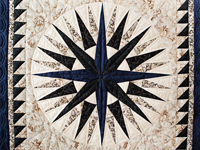Navy and Tan Compass Star Wall Hanging