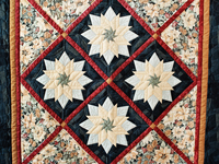 Navy, Rust and Cream Christmas Poinsettia Star Wall Hanging