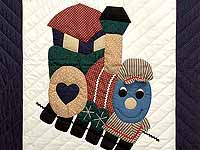 Navy and Red Thomas Train Crib Quilt
