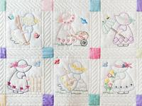 Pastel Little Girls Embroidered Crib Quilt