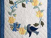 Blue and Yellow Vines and Roses Wall Hanging