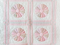Soft Pink and Gray Dresden Plate Crib Quilt