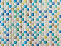 Blue, Green, Gray and White Little Blocks Crib Quilt