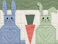 Green and Multicolor Floppy Eared Bunnies Crib Quilt