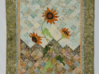 Sunflower Mountain - New Design Patchwork, Hand Applique, Hand Quilt