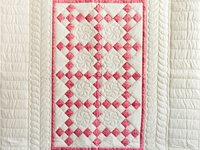 Tan and Rose Nine Patch Crib Quilt