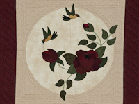 I Promised You a Rose Garden  Burgundy and Neutral wall quilt