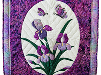 Lavender Purple Iris Appliqué Wall Hanging