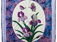 Lavender Blue Iris Appliqué Wall Hanging
