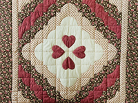 Rose, Brown & Cream Ocean Wave And Hearts Quilt