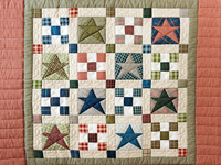 Primitive Homespun Stars and Nine Patch Wall Hanging