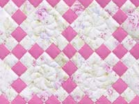 Pink and Cream Floral Nine Patch Crib Quilt