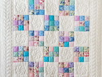 Aqua, Blue, Purple, Pink and White Nine Patch Crib Quilt