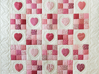Rose and Cream Hearts & Nine Patch Crib Quilt
