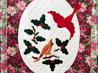 Floral Christmas Cardinals Applique Wall Hanging