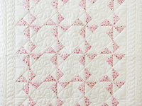 Pink and White Cherry Blossom Pinwheel Crib Quilt