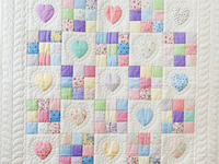 Pastel and White Hearts and Nine Patch Crib Quilt