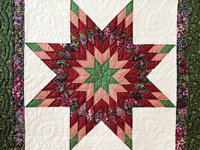 Green, Burgundy, Rose and Cream Lone Star Wall Hanging