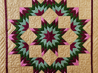 Dark Tan, Burgundy, Rose and Green Broken Star Wall Hanging