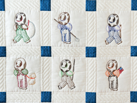 Navy and White Little Boy Embroidered Crib Quilt