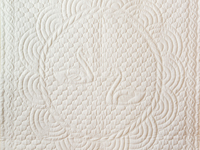 Extra Fine Creamy Yellow All Quilted Swans and Swirls Crib Quilt