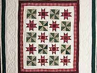 Burgundy and Green Stars and Pinwheels Wall Hanging