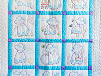Blue, Lavender and White Hand Embroidered Crib Quilt