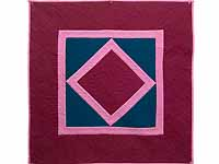 Indiana Amish Cranberry Blue and Pink Center Diamond Wall Hanging
