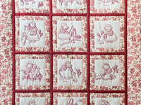 Rich Red & Floral Embroidered Redwork Girls Crib Quilt