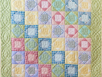 Pastel & Green Square on Square Crib Quilt