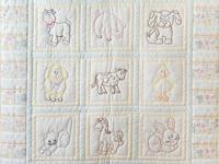 Soft Blue & Cream Embroidered Baby Farm Animals Crib Quilt