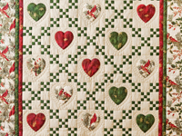Red, Green & Tan Christmas Cardinals Hearts and Nine Patch Quilt